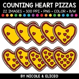 Valentine Heart Pizza Counting Clipart