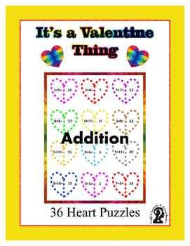 Valentine Heart Puzzles ~ Addition ~ 36 - 2 piece Puzzles ~ Printables
