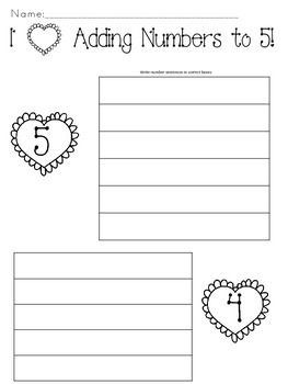 Valentine Heart Puzzles-Find Missing Addends for Addition Facts to 5