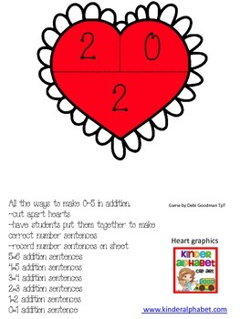 Valentine Heart Puzzles-Find Missing Addends for Addition
