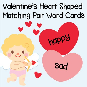 Editable Valentine Heart Shaped Matching Pair Word Card