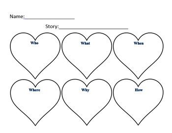Valentine Heart Story Elements Graphic Organizer