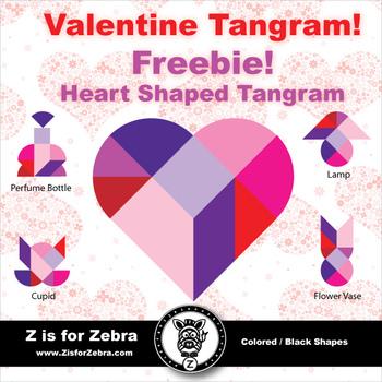 Valentine's Day Heart Tangram Freebie! -  ZisforZebra