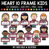 Valentine Heart Ten Frame Kids Clipart