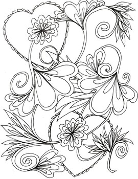 Valentine Heart and Flower coloring sheet