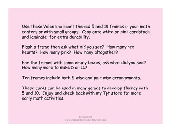 Valentine Hearts 5 and 10 Frame Fun, composing and decomposing numbers