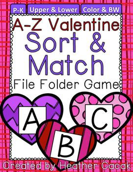 Valentine Hearts Alphabet Sort & Match File Folder Game {Pre-K, K}