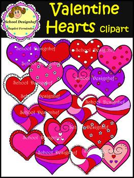Valentine Hearts Clip Art (School Designhcf)