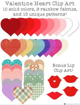 Valentine Hearts Clip Art - bonus kisses!