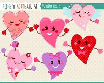 Valentine Hearts Clip Art - color and outlines