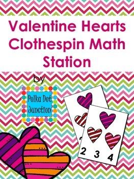 Valentine Hearts Clothespin Math Station