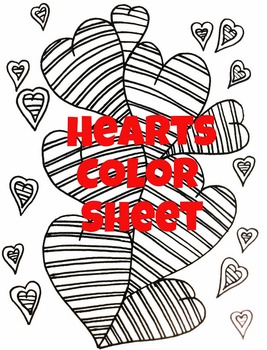 Valentine Hearts Color Sheet