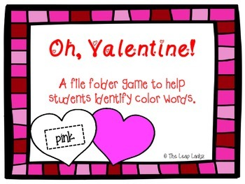 Valentine Hearts- Color Word Matching