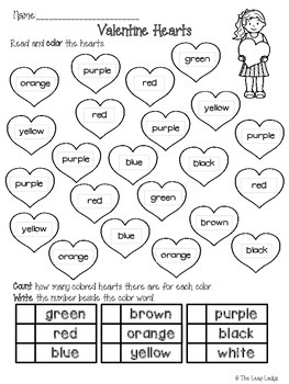 Valentine Hearts Coloring and Counting