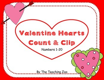 Valentine Hearts Count & Clip 1-20