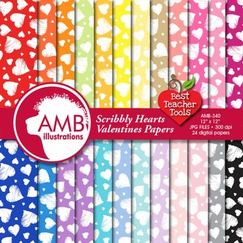 Valentine Hearts Digital Papers and backgrounds, {Best Teacher Tools} AMB-340