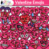 Valentine Hearts Emoji Clip Art {Winter Emoticon & Smiley