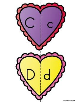 Valentine Hearts Letter Match