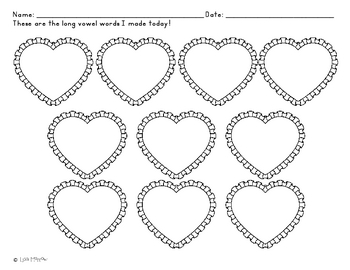 Valentine Hearts Long Vowel Puzzles