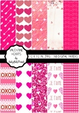 Valentine Hearts Paper Pack - Pink and White