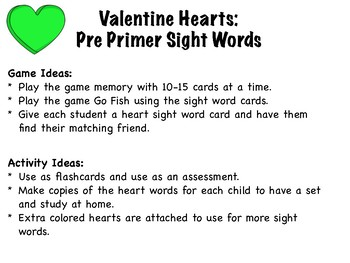 Valentine Hearts Pre Primer Sight Words