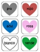 Valentine Hearts Spanish Number and Color Words Pocket Chart Game