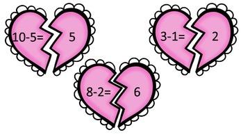 Valentine Hearts Subtraction Puzzles