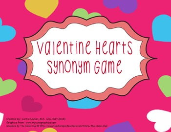 Valentine Hearts Synonym Game