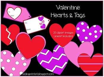 Valentine Hearts & Tags {clipart}