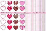 Valentine Hearts, Patterns, and Borders Clipart