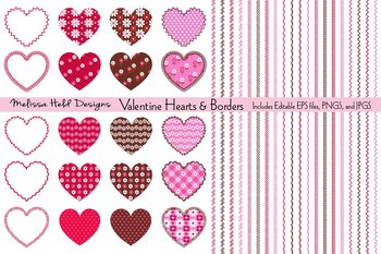 Clipart: Valentine Hearts, Patterns,  and Borders Clip Art