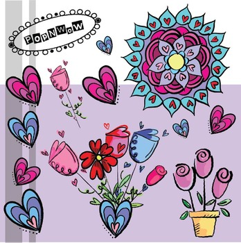 Valentine Hearts and Flowers ~ PopNwow Doodles