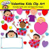 Valentine Hearts and Kids Clip Art
