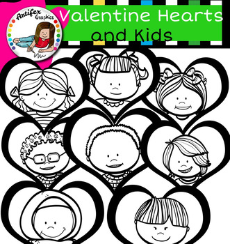 Valentine Hearts and Kids clip art- Free!!