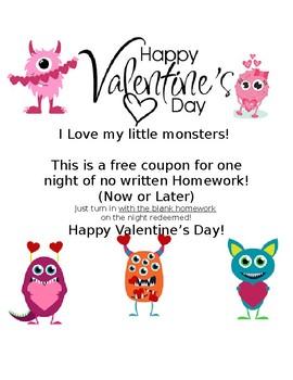 Valentine Homework Pass-Monster Themed