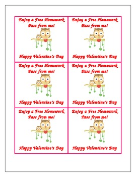 Valentine Homework Pass for Students