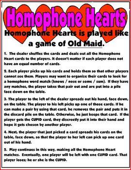 Valentine Homophone Heart Game
