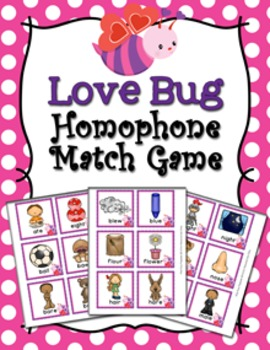 Valentine Homophone Words Match Game