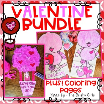 Valentine Hot Air Balloon Craft and Love Bird Treat Bags BUNDLE