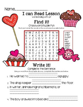 Valentine I Can Read It! Word Puzzle Fun (Lesson 22: words ending with -pt)