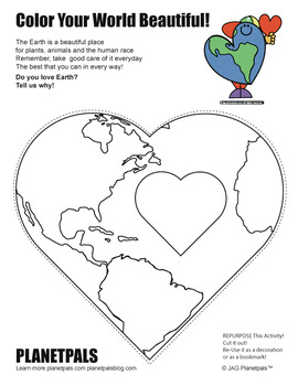 I LOVE EARTH ♥ Holiday Coloring Page Activity & Poem Valentine's Day or Earthday