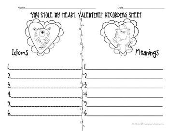 Valentine Idiom Recording Sheet