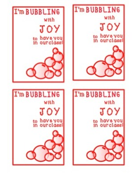 Valentine-I'm Bubbling with joy to have you in our class!