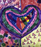 Valentine Jim Dine Inspired Color Theory All School Project