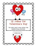 Valentine Jokes with Handwriting Practice