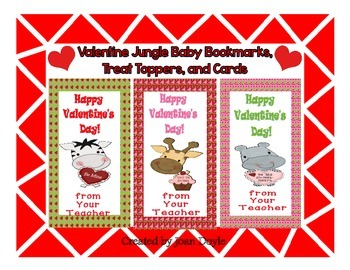Valentine Jungle Baby Bookmarks, Treat Toopers, and Cards
