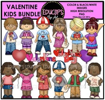Valentine Kids Clip Art Bundle {Educlips Clipart}