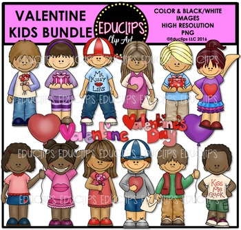 Valentine Kids Clip Art Bundle {Educlips Clipart}
