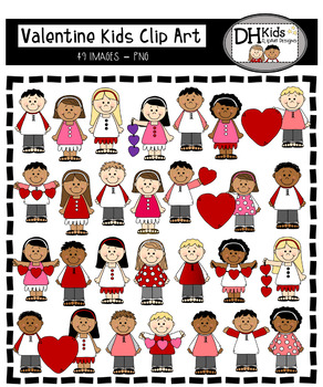 Valentine Kids Clip Art - Personal and Commercial Use - Boys & Girls