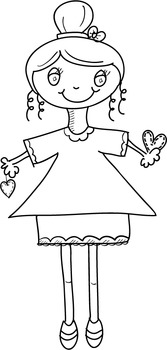 Valentine Kids (Girl Trio) ~ PopNwow Doodle Dolls